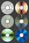 套的光盘。CD DVD 蓝光。矢量插画