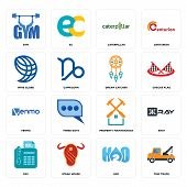Set Of 16 Simple Editable Icons Such As Tow Truck, H2o, Steak House, Fax, Xray, Gym, Wire Globe, Ven poster