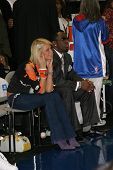 LOS ANGELES - FEB 13: Paris Hilton, P Diddy aka Sean Combs at the NBA All Star Celebrity Game on Feb