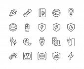 Simple Set Of Surge Protector Related Vector Line Icons. Contains Such Icons As American European So poster