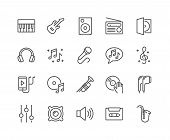 Simple Set Of Music Related Vector Line Icons. Contains Such Icons As Guitar, Treble Clef, In-ear He poster
