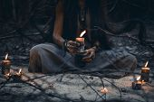 Woman Hands Holding Candle Close Up Witch Craft Concept poster