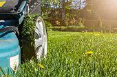 Mowing Lawns. Lawn Mower On Green Grass. Mower Grass Equipment. Mowing Gardener Care Work Tool. Clos poster