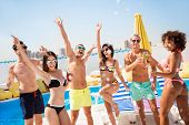 Cropped Shot Of Chilling, Dancing International Youth, Enjoying On Resort Beach Pool Sunny Disco, In poster