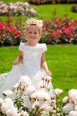 girl in roses garden