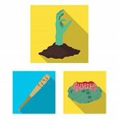 Zombies And Attributes Flat Icons In Set Collection For Design. Dead Man Vector Symbol Stock  Illust poster