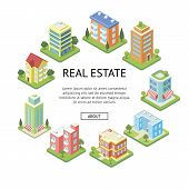 Real Estate Company Advertising. Modern Skyscrapers And Cozy Condo Building Isometric Vector Illustr poster