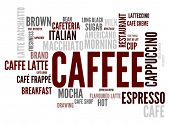 Caffee concept in word tag cloud isolated on white background