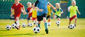 Football Soccer Training For Kids. Children Football Training Session. Kids Running And Kicking Socc poster