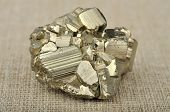 Pyrite In The Background Of A Burlap