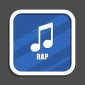 Rap music blue flat design square web icon poster