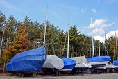 stock photo of tarp  - Row of sailboat and power boats with covers in lot - JPG