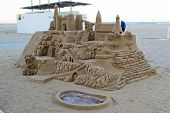 Sand castle on the beach in Valencia, Spain.