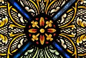 Design detail of stained-glass window