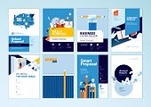 Brochure Cover Design And Flyer Layout Templates Set For Education, School, Online Learning. Vector  poster