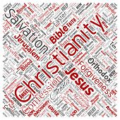 Conceptual christianity, jesus, bible, testament square red  word cloud isolated background. Collage poster