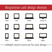 Responsive Icon Vector Images. Flat Responsive Design Icons Vector. Responsive Icon Vector Images Se poster