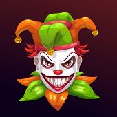Crazy Creepy Joker Face. Angry Clown With Evil Smile On The Face. Isolated On Black. poster