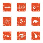 Stock Breeding Icons Set. Grunge Set Of 9 Stock Breeding Vector Icons For Web Isolated On White Back poster
