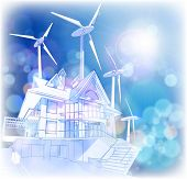 Ecology concept: wind-driven generators & house with solar power systems.  Bitmap copy my vector ID