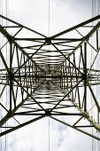 Transmission Tower Bottom View. Power Tower On Cloudy Sky. Electricity Pylon Structure For Power Lin poster