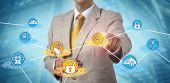 Unrecognizable It Services Administrator Detecting Breach Or Data Loss Via Ai App. Cybersecurity Con poster