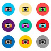 Vector Icon Illustration Logo For Set Symbols Camera With Lenses For Photo. Camera Pattern Consistin poster