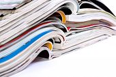 Close Up Image Of Magazines Stack Background. News And Media Publications.magazines Heap Detail poster