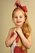 Child Childhood Children Happiness Concept. Little Girl In Vintage Dress, Prom. Retro Girl Or Fashio poster