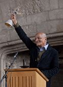 Satish Kumar, The Tagore Festival's Artistic Director, Rings The Opening Bell At The Ceremony Of The