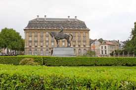 stock photo of leopold  - The statue of Leopold the 2nd in front of a building Brussels Belgium - JPG