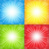 Sunburst And Bokeh Big Set, Vector Illustration