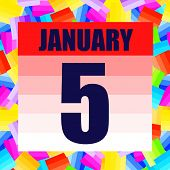 January 5 Icon. For Planning Important Day. Banner For Holidays And Special Days. Fifth Of January.  poster