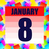 January 8 Icon. For Planning Important Day. Banner For Holidays And Special Days. January 8. Illustr poster