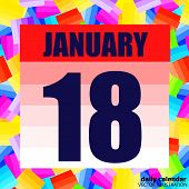 January 18 Icon. For Planning Important Day. Banner For Holidays And Special Days. January Eighteent poster