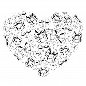 Heart Shape With Gift Boxes, Hearts And Bows For Valentines Day Design. Black And White Sketchy Illu poster