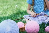 Child Sitting On Green Grass And Knitting Sweater With Needles On Summer Day. poster