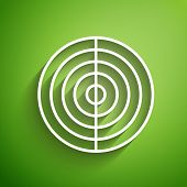 White Line Earth Structure Icon Isolated On Green Background. Geophysics Concept With Earth Core And poster