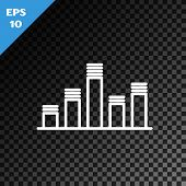 White Line Music Equalizer Icon Isolated On Transparent Dark Background. Sound Wave. Audio Digital E poster