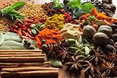 stock photo of bay leaf  - Herbs and spices selection - JPG