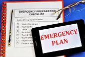 Emergency Preparedness Checklist.emergency Survival Items.water Containers,first Aid Kit, Torch, Bat poster