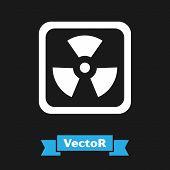White Radioactive Icon Isolated On Black Background. Radioactive Toxic Symbol. Radiation Hazard Sign poster
