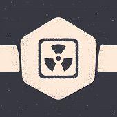 Grunge Radioactive Icon Isolated On Grey Background. Radioactive Toxic Symbol. Radiation Hazard Sign poster