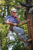 Utility Worker On Pole