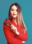 Gorgeous Lady Makeup Red Lips. Attractive Woman Applying Makeup Brush. Strengthen Confidence With Br poster