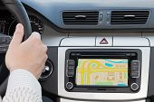 GPS navigation in interior of modern car