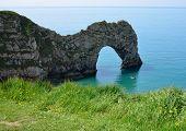 Kayaking At Durdle Door On The Dorset Coast poster