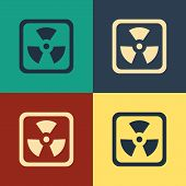 Color Radioactive Icon Isolated On Color Background. Radioactive Toxic Symbol. Radiation Hazard Sign poster