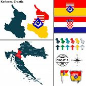 Vector Map Of Karlovac And Location On Croatian Map poster