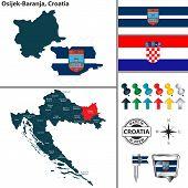 Vector Map Of Osijek Baranja And Location On Croatian Map poster